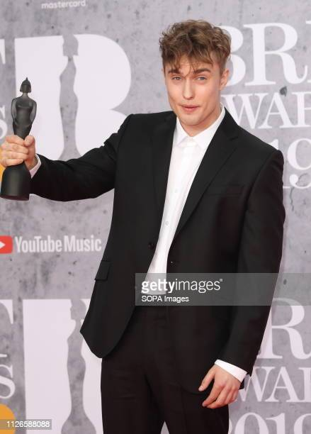 Sam Fender seen on the red carpet during The BRIT Awards 2019 at The O2 Peninsula Square in London