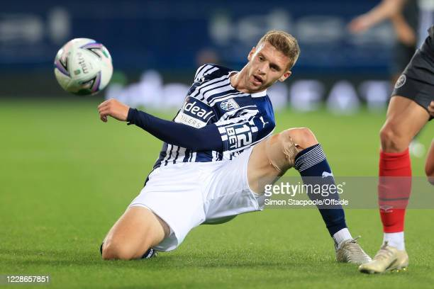 Sam Field of West Brom falls awkwardly during the Carabao Cup Third Round match between West Bromwich Albion and Brentford at The Hawthorns on...