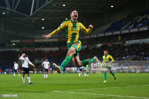 Sam Field of West Bromwich Albion celebrates after scoring a goal to make it 02 during the Sky Bet Championship match between Bolton Wanderers and...