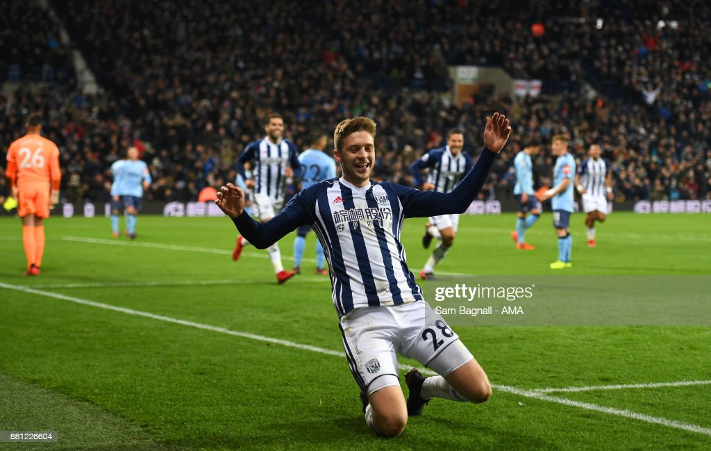 Sam Field of West Bromwich Albion celebrates after scoring a goal to make it 2-0 during the Premier League match between West Bromwich Albion and Newcastle United at The Hawthorns on November 28, 2017 in West Bromwich, England.