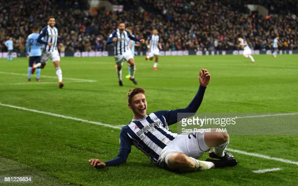 Sam Field of West Bromwich Albion celebrates after scoring a goal to make it 20 during the Premier League match between West Bromwich Albion and...
