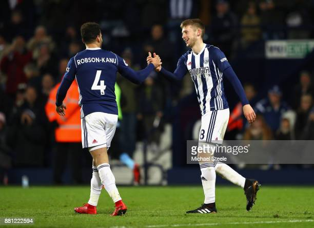 Sam Field of West Bromwich Albion celebrates with Hal RobsonKanu as he scores their second goal during the Premier League match between West Bromwich...