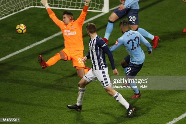 Sam Field of West Bromwich Albion scores a goal to make it 20 during the Premier League match between West Bromwich Albion and Newcastle United at...