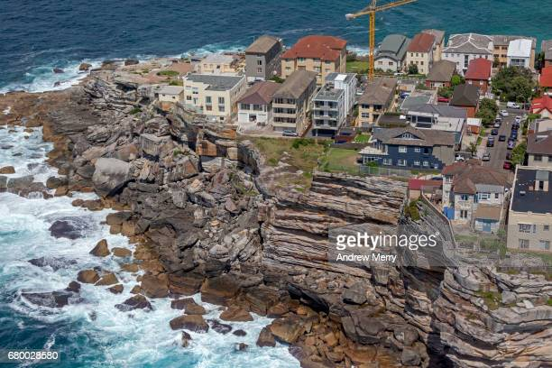 sam fiszman park, north bondi rocks, sydney, aerial photography - east stock pictures, royalty-free photos & images