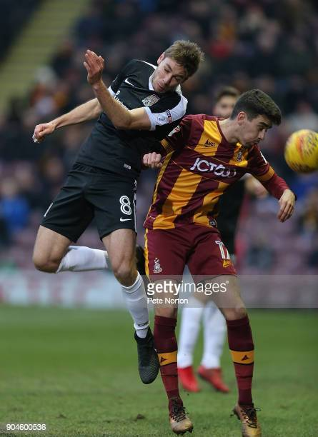 Sam Foley of Northampton Town contests the ball with Alex Gilliead of Bradford City during the Sky Bet League One match between Bradford City and...