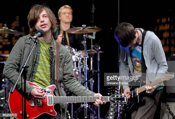Sam Forrest, David Jones and James Galley of Nine Black Alps perform at Channel M's 'City Life Social Session' at Urbis on May 6, 2009 in Manchester,...