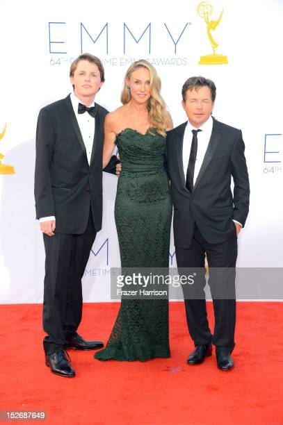 Sam Fox actress Tracy Pollan and actor Michael J Fox arrive at the 64th Annual Primetime Emmy Awards at Nokia Theatre LA Live on September 23 2012 in...