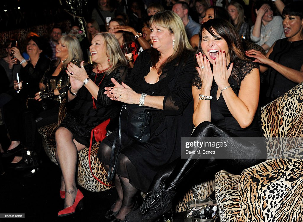 Sam Fox (2L )and Lizzie Cundy (R) attend Wink Bingo's Gentle Woman's Night featuring a performance from The Dream Idols at Peter Stringfellow's Angels Club on March 18, 2013 in London, England.