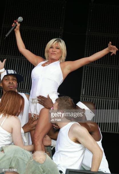Sam Fox performs at the official Pride Parade aftershow Big Gay Out as part of the Pride London festival in Finsbury Park on July 3 2004 in London