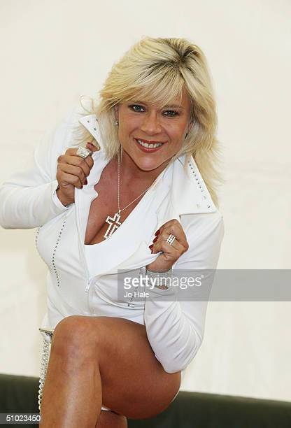Sam Fox poses backstage at the official Pride Parade aftershow Big Gay Out as part of the Pride London festival in Finsbury Park on July 3 2004 in...