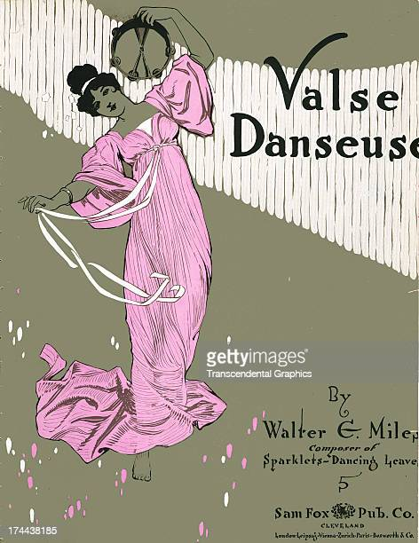 Sam Fox publishes sheet music like this one with a dancer in a pink dress from 1900 in Cleveland Ohio