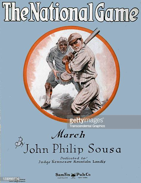 Sam Fox publishing company uses a vignette of a batter and a catcher to sell the sheet music by John Philip Sousa entitled The National Game...