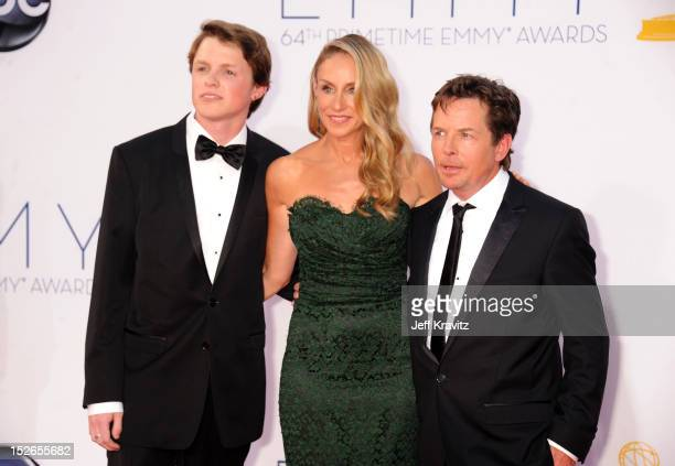 Sam Fox Tracy Pollan and Actor Michael J Fox arrive at the 64th Primetime Emmy Awards at Nokia Theatre LA Live on September 23 2012 in Los Angeles...