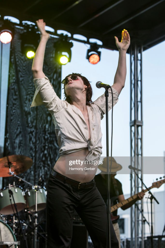 Sam France of the band Foxygen performs during the When We Were Young Festival 2017 at The Observatory on April 8, 2017 in Santa Ana, California.