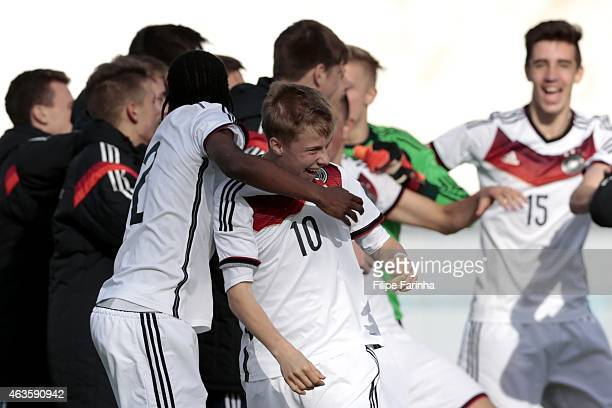 Sam Francis Shreck of Germany celebrates the victory with his teammates during the U16 UEFA development tournament between Germany and Netherlands on...