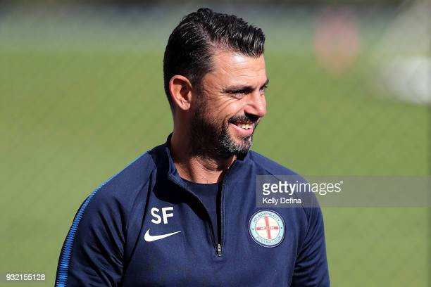 Sam Frangos goalkeeping coach at Melbourne City is seen during a Melbourne City FC ALeague training session at City Football Academy on March 15 2018...