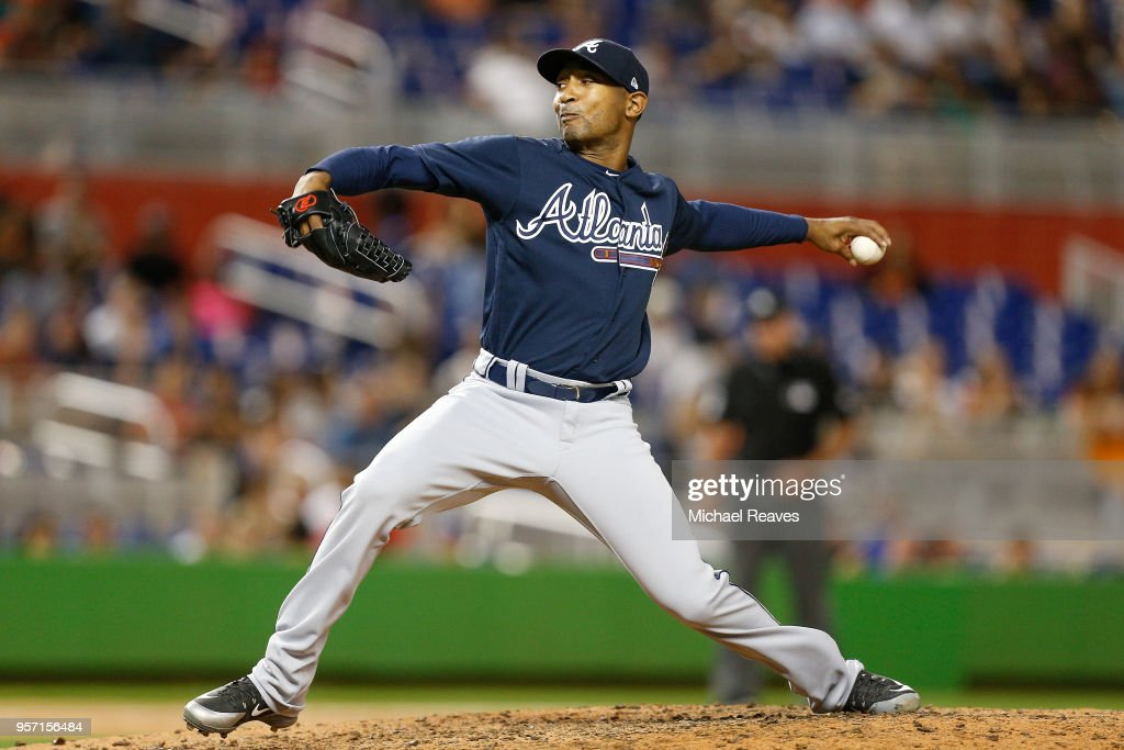 Sam Freeman #39 of the Atlanta Braves delivers a pitch against the Miami Marlins in the seventh inning at Marlins Park on May 10, 2018 in Miami, Florida.