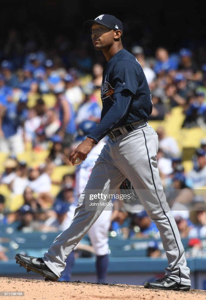 Sam Freeman #39 of the Atlanta Braves reacts after walking in a Los Angeles Dodgers run in the sixth inning at Dodger Stadium on June 10, 2018 in Los Angeles, California.