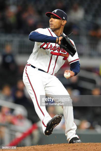 Sam Freeman of the Atlanta Braves throws an eighthinning pitch against the New York Mets at SunTrust Park on April 19 2018 in Atlanta Georgia