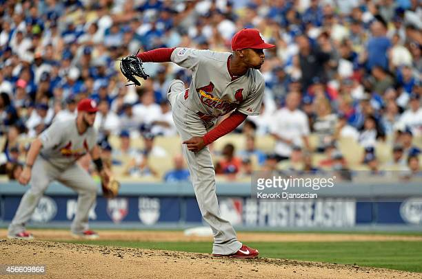 Sam Freeman of the St Louis Cardinals pitches in the fifth inning in relief of Adam Wainwright during Game One of the National League Division Series...