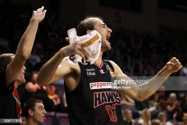 Sam Froling of the Hawks celebrates a three point basket from the bench during the round 11 NBL match between the Illawarra Hawks and the Brisbane...