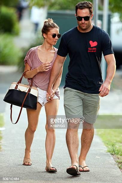 Sam Frost and boyfriend Sasha Mielczarek enjoy a stroll on February 12 2016 in Sydney Australia