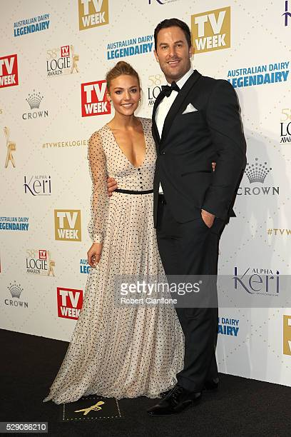 Sam Frost and Sasha Mielczarek arrive at the 58th Annual Logie Awards at Crown Palladium on May 8 2016 in Melbourne Australia