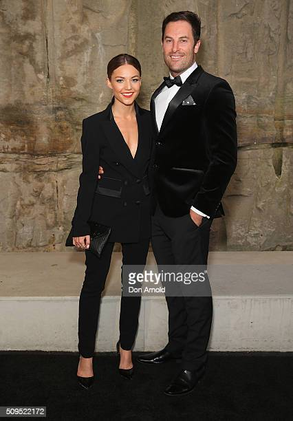 Sam Frost and Sasha Mielczarek arrives ahead of the Myer AW16 Fashion Launch at Barangaroo Reserve on February 11 2016 in Sydney Australia