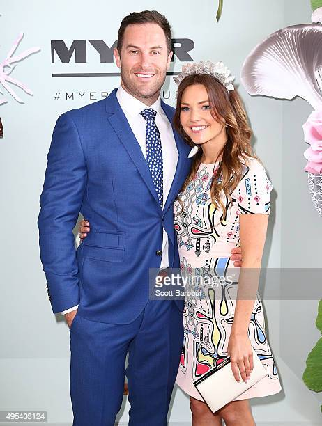 Sam Frost and Sasha Mielczarek from The Bachelorette Australia finale pose at the Myer Marquee on Melbourne Cup Day at Flemington Racecourse on...