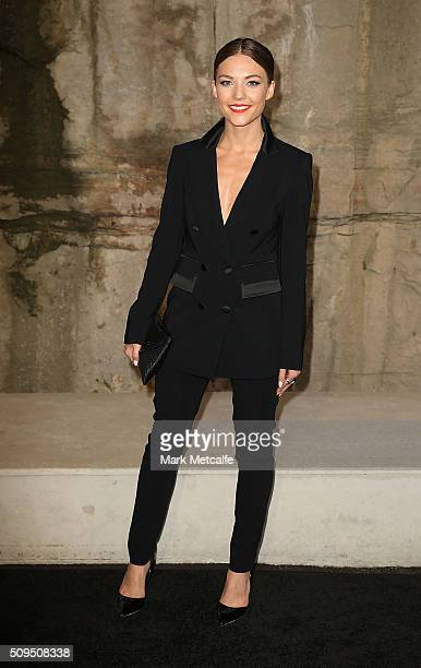 Sam Frost arrives ahead of the Myer AW16 Fashion Launch on February 11 2016 in Sydney Australia