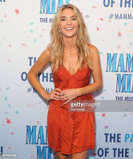 Sam Frost arrives ahead of the premiere of Mamma Mia The Musical at Capitol Theatre on February 15 2018 in Sydney Australia