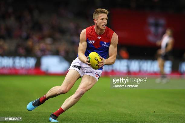 Sam Frost of the Demons in action during the round 19 AFL match between the St Kilda Saints and the Melbourne Demons at Marvel Stadium on July 27,...