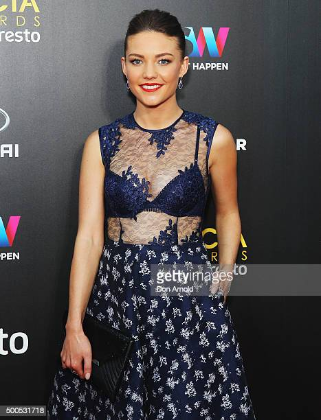 Sam Frost poses on the red carpet for the 5th AACTA Awards at The Star on December 9 2015 in Sydney Australia