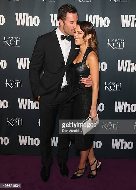 Sam Frost Sasha Mielczarek arrive ahead of WHO Australia's Most Intriguing People 2015 party at Ananas on November 11 2015 in Sydney Australia