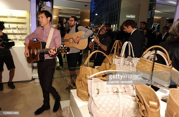 Sam Fry and Edward Ibbotson of the band Life In Film performs during the VOGUE Fashion's Night Out at the Burberry boutique on September 09, 2010 in...