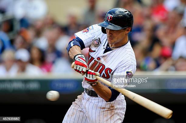Sam Fuld of the Minnesota Twins bats against the Chicago White Sox during the game on July 27 2014 at Target Field in Minneapolis Minnesota The Twins...