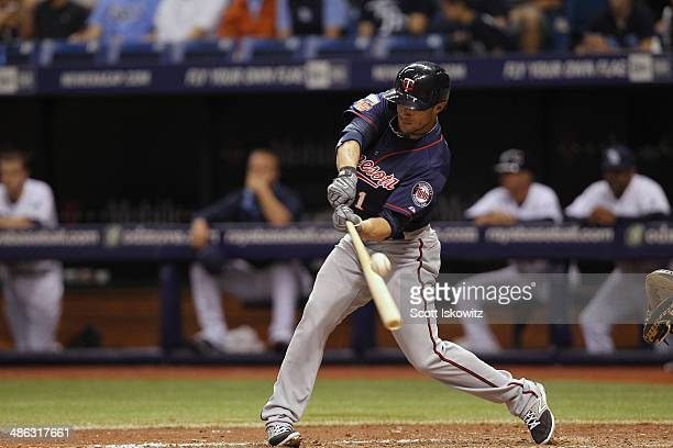 Sam Fuld of the Minnesota Twins fouls the ball off during the 4th inning against the Tampa Bay Rays at Tropicana Field on April 23 2014 in St...