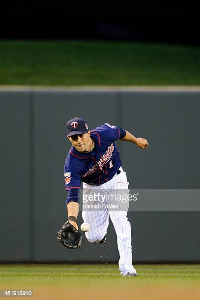 Sam Fuld of the Minnesota Twins makes a play in center field against the New York Yankees during the game on July 3 2014 at Target Field in...