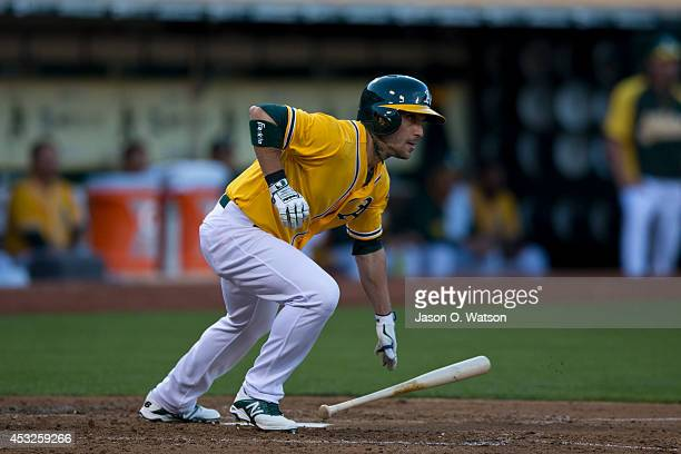 Sam Fuld of the Oakland Athletics at bat against the Kansas City Royals during the fourth inning at Oco Coliseum on August 1 2014 in Oakland...