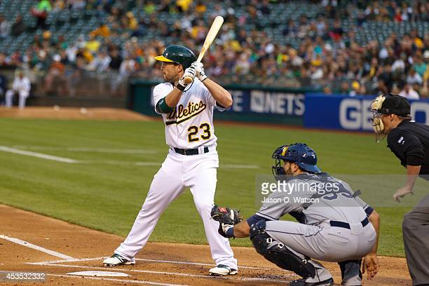 Sam Fuld of the Oakland Athletics at bat against the Tampa Bay Rays during the first inning at Oco Coliseum on August 5 2014 in Oakland California...