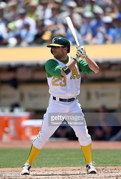 Sam Fuld of the Oakland Athletics bats against the Kansas City Royals in the bottom of the first inning at Oco Coliseum on June 27 2015 in Oakland...