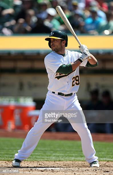 Sam Fuld of the Oakland Athletics bats against the Seattle Mariners during the game at Oco Coliseum on Sunday April 6 2014 in Oakland California