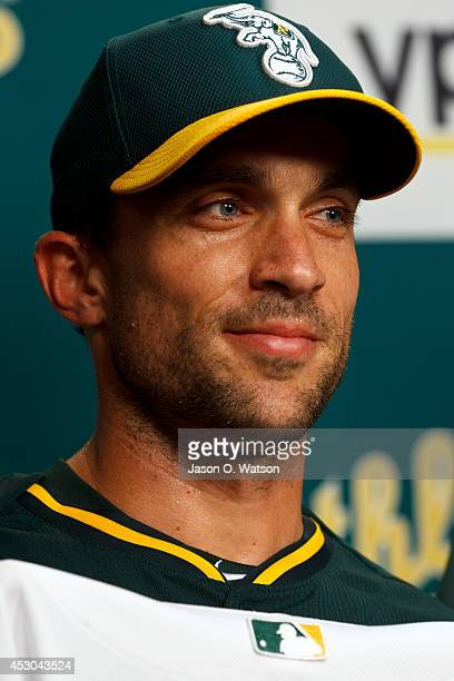 Sam Fuld of the Oakland Athletics looks on during a press conference before the game against the Kansas City Royals at Oco Coliseum on August 1 2014...