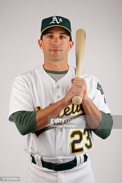 Sam Fuld of the Oakland Athletics poses for a portrait during the spring training photo day at HoHoKam Stadium on February 29 2016 in Mesa Arizona