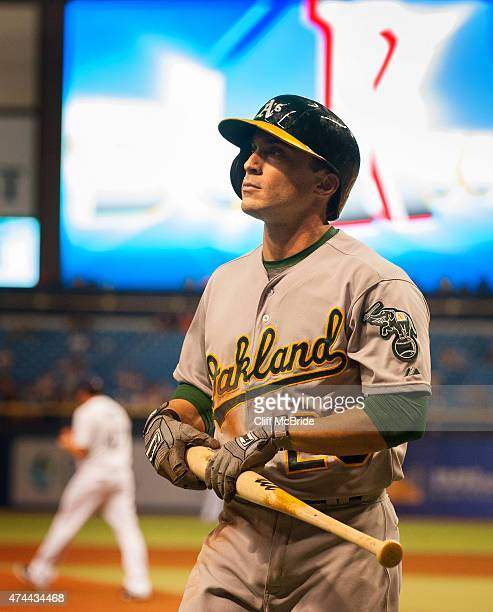 Sam Fuld of the Oakland Athletics walks back to the duguout after striking out in the sixth inning on May 22 2015 at Tropicana Field in St Petersburg...