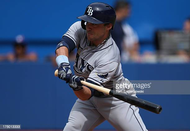 Sam Fuld of the Tampa Bay Rays bats during MLB game action against the Toronto Blue Jays on July 21 2013 at Rogers Centre in Toronto Ontario Canada