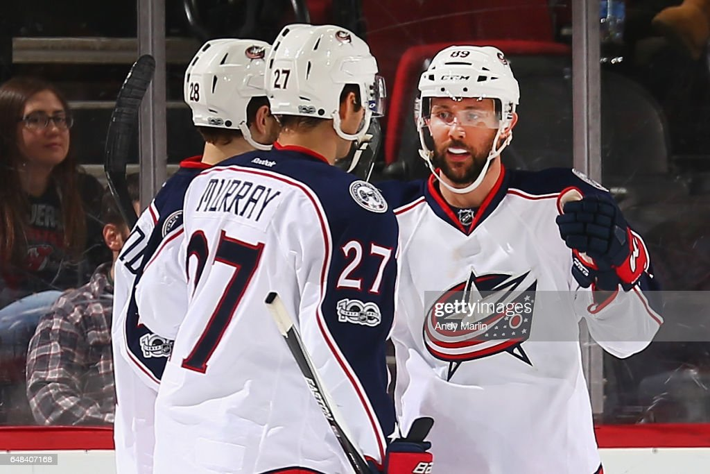 Sam Gagne #89 of the Columbus Blue Jackets is congratulated after scoring a goal during the game against the New Jersey Devils at Prudential Center on March 5, 2017 in Newark, New Jersey.