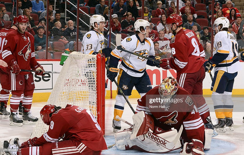 Sam Gagner #9 (L) and goaltender Mike Smith #41 of the Arizona Coyotes react after a goal by Calle Jarnkrok #19 of the Nashville Predators during the third period at Gila River Arena on December 11, 2014 in Glendale, Arizona. The Predators defeated the Coyotes 5-1.