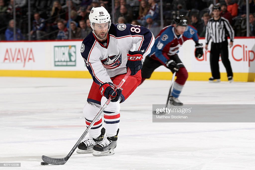Sam Gagner #89 of the Columbus Blue Jackets advances the puck against the Colorado Avalanche at the Pepsi Center on December 1, 2016 in Denver, Colorado.