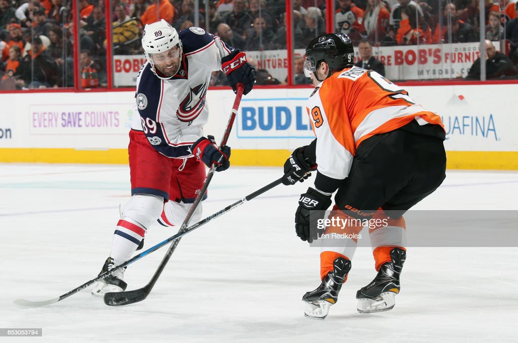 Sam Gagner #89 of the Columbus Blue Jackets controls the puck against Ivan Provorov #9 of the Philadelphia Flyers on March 13, 2017 at the Wells Fargo Center in Philadelphia, Pennsylvania. The Blue Jackets went on to defeat the Flyers 5-3.